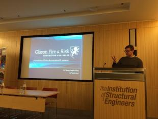 Dr Danny Hopkin presenting his work on structural fire engineering reliability concepts