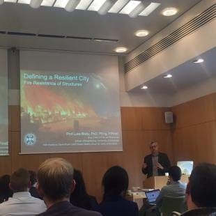 Luke Bisby discusses structural fire resilience to the forum attendees